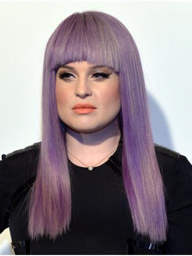 "Straight 18"" Purple Long With Bangs Kelly Osbourne Wigs"