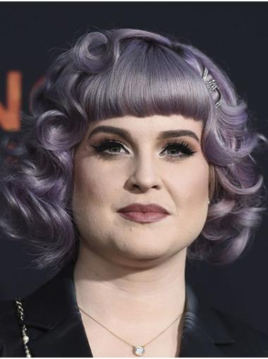 "Curly 12"" Purple Chin Length Bobs Kelly Osbourne Wigs"