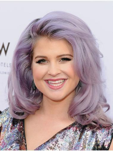 "Wavy 16"" Purple Shoulder Length Without Bangs Kelly Osbourne Wigs"