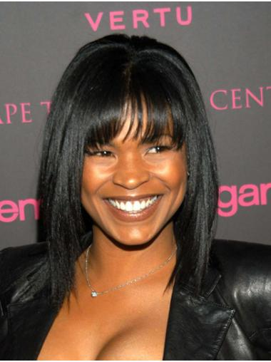 """Straight 14"""" Black Shoulder Length With Bangs Nia Long Wigs"""