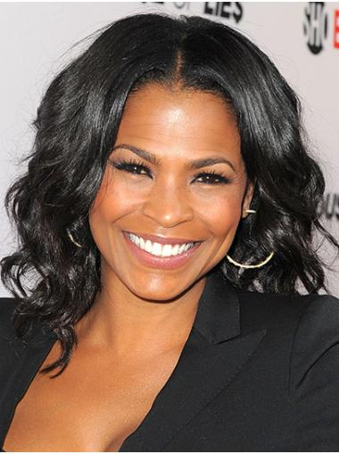 "Wavy 14"" Black Shoulder Length Without Bangs Nia Long Wigs"
