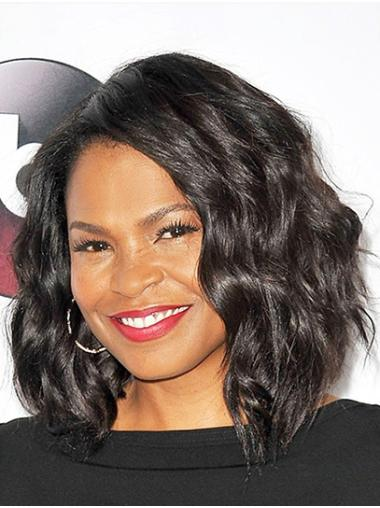 "Wavy 14"" Black Shoulder Length Bobs Nia Long Wigs"