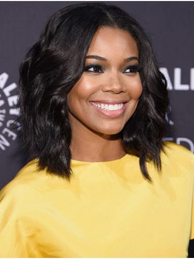 "Wavy 14"" Black Shoulder Length Bobs Gabrielle Union Wigs"
