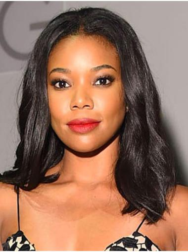 "Wavy 16"" Black Shoulder Length Without Bangs Gabrielle Union Wigs"