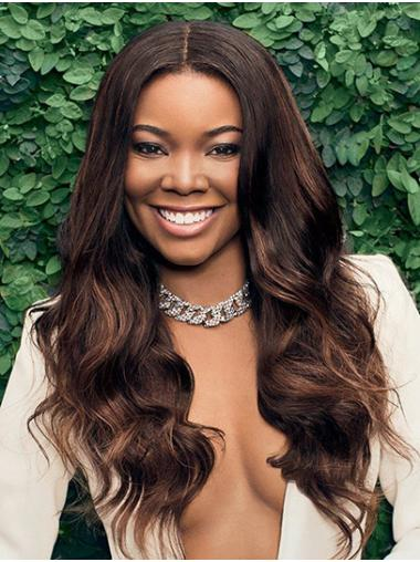 """Wavy 22"""" Brown Long Without Bangs Gabrielle Union Wigs"""