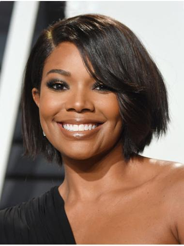"Straight 10"" Black Chin Length Bobs Gabrielle Union Wigs"