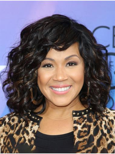 """Curly 14"""" Black Shoulder Length Without Bangs Erica Campbell Wigs"""