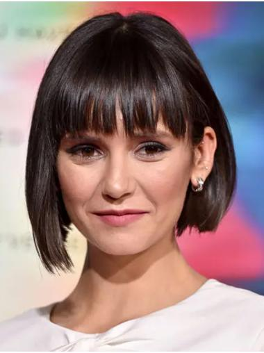 "Straight 12"" Brown Chin Length Bobs Nina Dobrev Wigs"