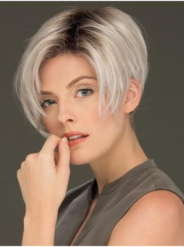 "6"" Cropped Affordable Lace Front Straight Grey Wigs"