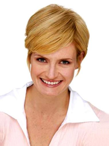 Short Straight Durable Blonde Synthetic Hairpieces