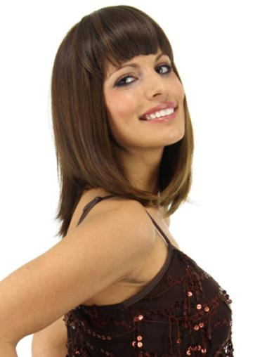 Short Straight Affordable Brown Synthetic Hairpieces