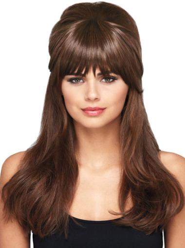 Short Straight Flexibility Brown Synthetic Hairpieces