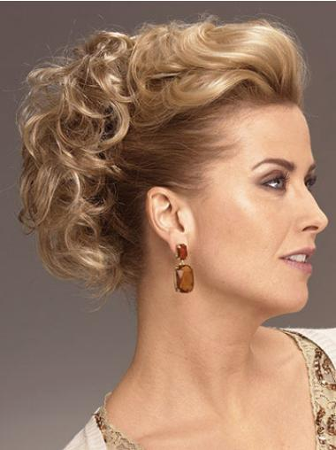 Short Curly Convenient Blonde Synthetic Hairpieces