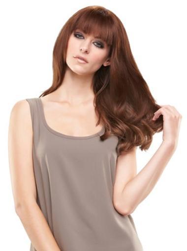 Short Straight Durable Auburn Human Hair Hairpieces