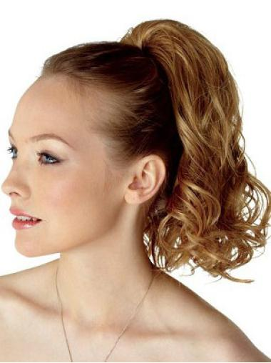 Medium Curly Incredible Brown Synthetic Hairpieces