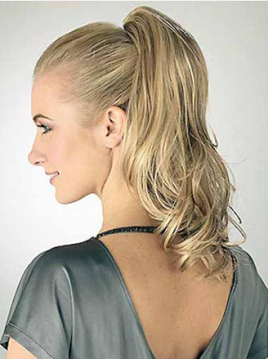 Medium Wavy Fashionableable Blonde Synthetic Ponytails