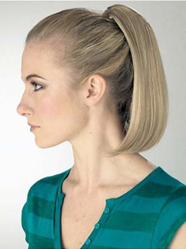 Medium Straight Convenient Blonde Synthetic Ponytails