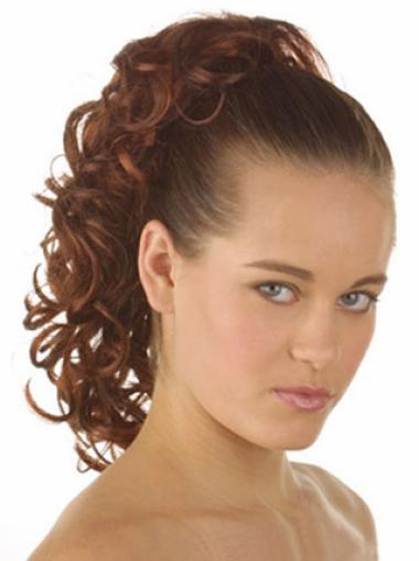 Medium Curly Discount Auburn Synthetic Ponytails
