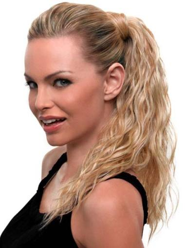 Synthetic Top Wavy Blonde Ponytails