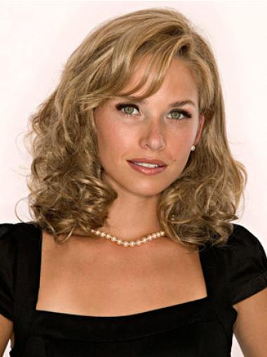 Medium Wavy Soft Blonde Human Hair Half Hairpieces
