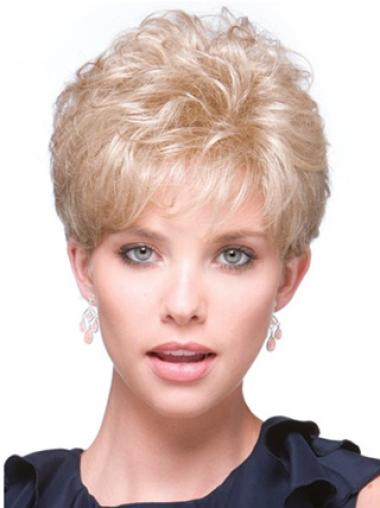 Short Curly Graceful Blonde Synthetic Hairpieces
