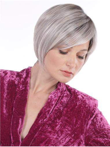 Cheap Monofilament Synthetic Straight Chin Length Grey Wigs