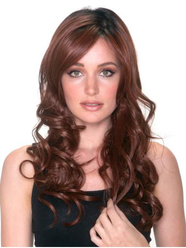 Flexibility With Bangs Auburn Curly Synthetic Lace Front Wigs