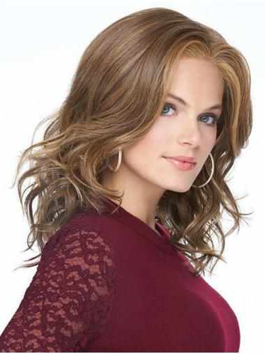 """Durable 14"""" Shoulder Length Wavy Without Bangs 100% Hand-tied Wigs"""