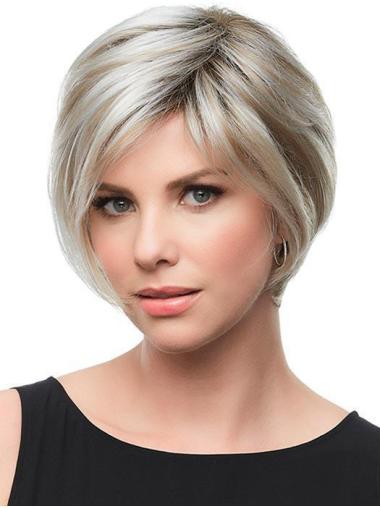 "8"" Short Synthetic Grey With Blonde Perfect Bob Wigs"