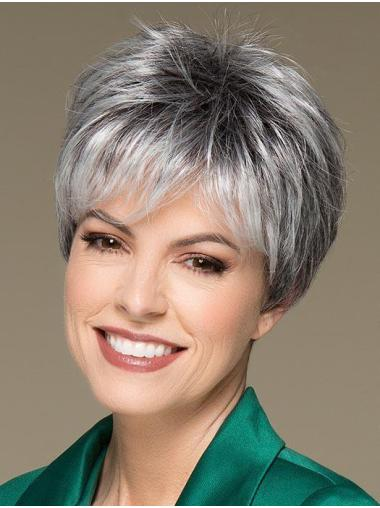 Amazing Monofilament Synthetic Straight Short Grey Wigs