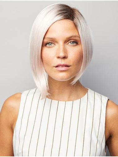 Trendy Monofilament Synthetic Straight Chin Length Grey Wigs