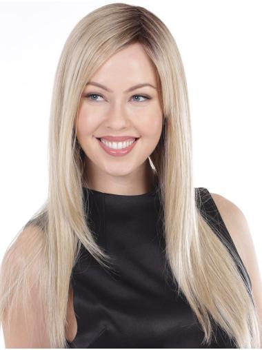 """Platinum Blonde Straight Without Bangs Perfect 20"""" Long Wigs"""