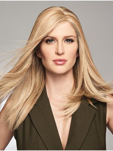 """18"""" 100% Hand-tied Without Bangs Blonde Cheap Human Hair Wigs"""