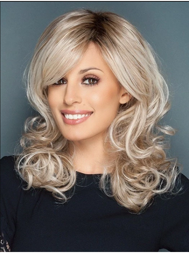"""Platinum Blonde 16"""" Curly Synthetic With Bangs Wigs Long"""
