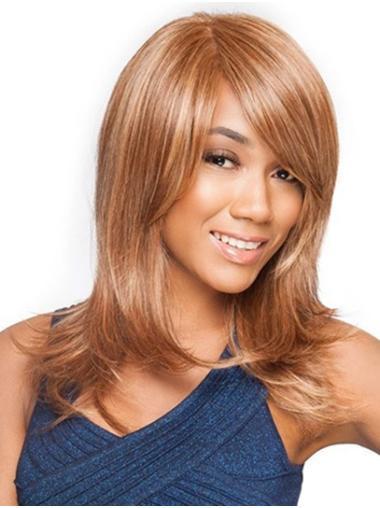 "Straight 16"" Auburn Layered Long Front Lace Wigs"