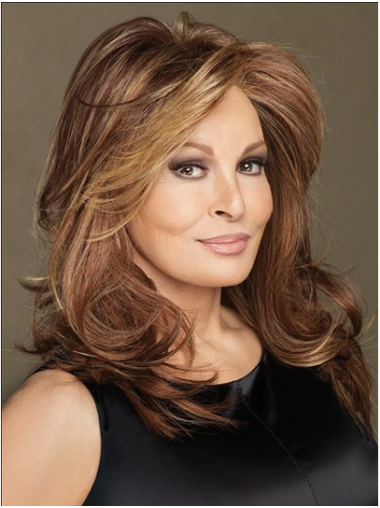 """Wavy Brown 16"""" Layered Mono Top Wigs"""