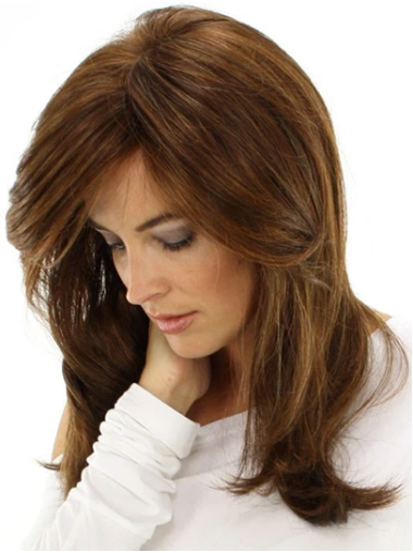"""Monofilament 16"""" Brown Long Layered Synthetic Wig"""