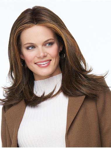 """Monofilament 16"""" Brown Long Without Bangs Synthetic Hair Wigs"""