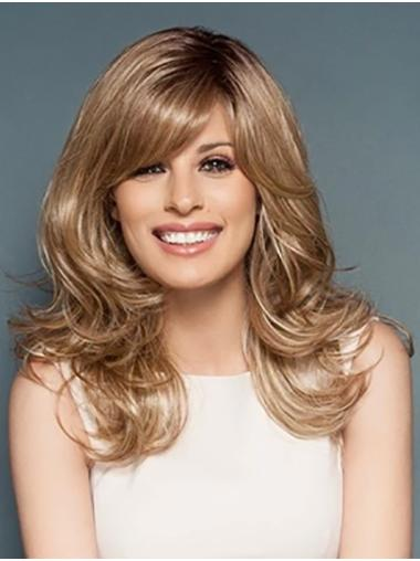 """Monofilament 18"""" Blonde Long Without Bangs Synthetic Ladies Wigs"""
