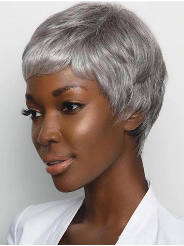 """Straight Grey Layered 4"""" African American Wig"""