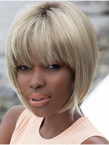 """Straight Blonde Bobs 10"""" African American Wigs"""