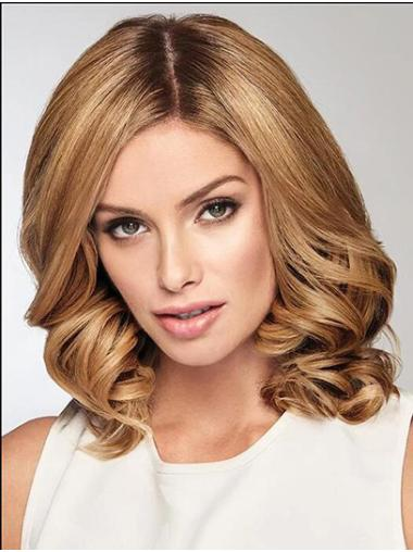 "Without Bangs 14"" Shoulder Length Wavy Blonde Medium Wig"