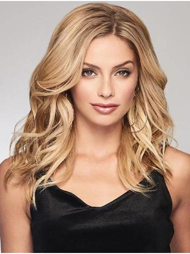 "Layered 16"" Shoulder Length Wavy Blonde Good Medium Wigs"