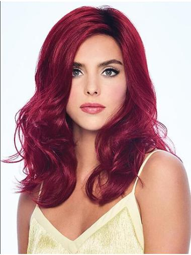 """Without Bangs 14"""" Shoulder Length Wavy Red Cheap Medium Wig"""