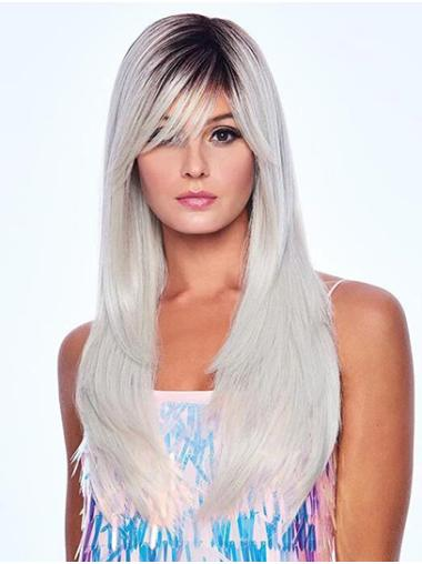 """Capless 18"""" Black To Grey Long With Bangs Very Cheap Synthetic Wigs"""