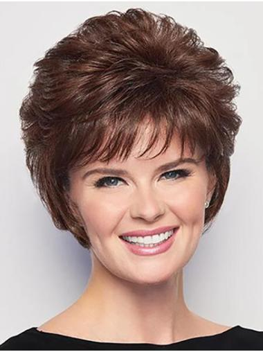 "6"" Curly Brown Short Capless Best Classic Wig"