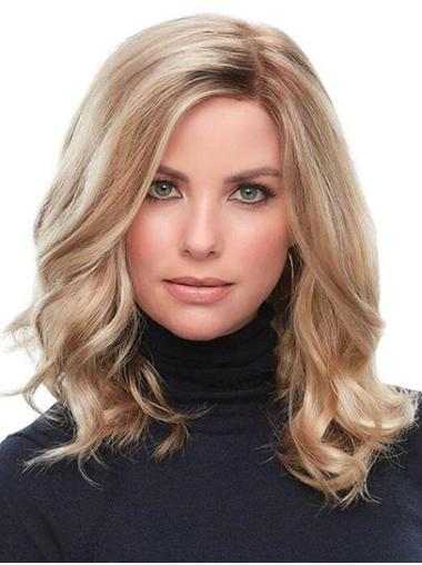 """Without Bangs 14"""" Shoulder Length Curly Blonde Medium Wig For Women"""