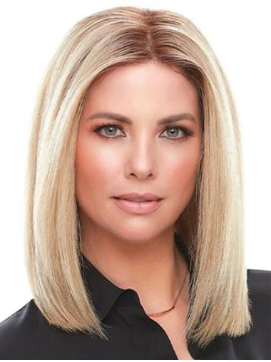 """12"""" 100% Hand-tied Without Bangs Blonde Ladies Human Hair Wigs"""