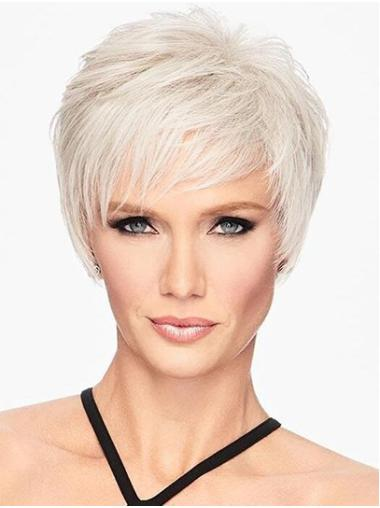 "Capless 6"" Platinum Blonde Short Layered Best Synthetic Wigs For Women"