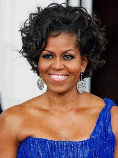 "8"" Curly Black Exquisite Michelle Obama Wigs"